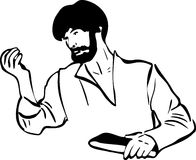 Man is considering something in his hand. Sketch of a man is considering something in his hand Stock Image