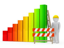 Man construction bar graph Stock Photo