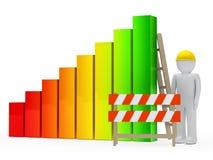 Man construction bar graph. Man figure with helmet construction bar graph Stock Photo