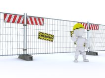 Man with construction barrier fence Royalty Free Stock Images