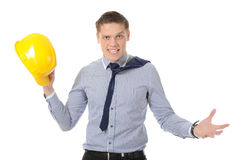 Man with construction helmet Stock Images