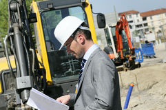 Man construction industry. Man wearing a helmet, manager, architect Royalty Free Stock Photo