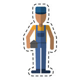 Man construction repair holding toolbox-dot line Royalty Free Stock Images