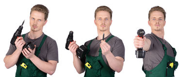 Man construction worker with electric screwdriver Royalty Free Stock Photo