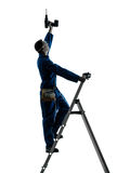 Man construction worker holding drill silhouette Stock Photo
