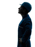 Man construction worker looking up profile silhouette portrait Royalty Free Stock Photo