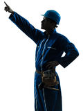 Man construction worker pointing silhouette Royalty Free Stock Images