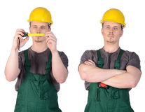 Man construction worker with ruler tape Royalty Free Stock Image