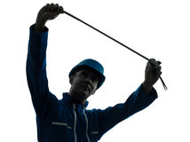 Man construction worker silhouette Stock Photo
