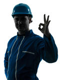 Man construction worker silhouette portrait Royalty Free Stock Photos