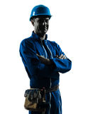 Man construction worker smiling friendly silhouette portrait. One caucasian man construction worker smiling friendly  silhouette portrait in studio on white Royalty Free Stock Photos