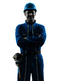 Man construction worker smiling friendly silhouette portrait Royalty Free Stock Photo