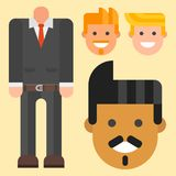 Man constructor body avatar creator vector cartoon character creation spare parts spares animation. Man constructor elements body avatar icon creator. Vector Stock Images