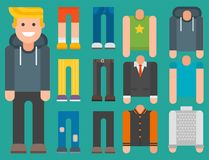 Man constructor body avatar creator vector cartoon character creation spare parts spares animation. Man constructor elements body avatar icon creator. Vector Stock Image