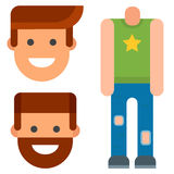 Man constructor body avatar creator vector cartoon character creation spare parts spares animation. Man constructor elements body avatar icon creator. Vector Royalty Free Stock Photo