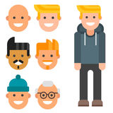 Man constructor body avatar creator vector cartoon character creation spare parts spares animation. Man constructor elements body avatar icon creator. Vector Royalty Free Stock Images
