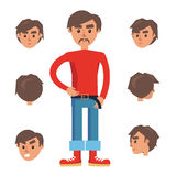 Man Constructor. Character with Set of Six Heads Stock Image