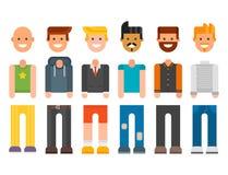 Man constructor body avatar creator vector cartoon character. Man constructor elements body avatar icon creator. Vector Illustration trendy flat design cartoon Stock Photos