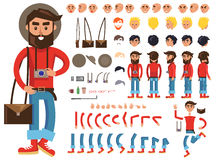 Man Constructor. Separate Parts of Male Person. Man constructor. Man with photograph and bag. Separate part of male person. Icons with different emotions on face Stock Photography