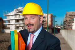 Adult man wears a protective helmet Royalty Free Stock Image