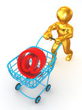 Man with Consumer basket Royalty Free Stock Photography