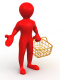 Man with consumer basket Royalty Free Stock Photos