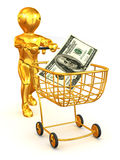 Man with Consumer basket and dollar Royalty Free Stock Images