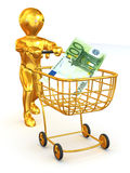 Man  with Consumer basket and Euro. 3d Very beautiful three-dimensional illustration, figure Royalty Free Stock Photos