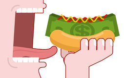 Man consumes money. Cash hot dog. Muffin and dollars pack. Fast Royalty Free Stock Images