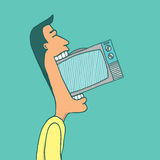 Man consuming television Royalty Free Stock Photos