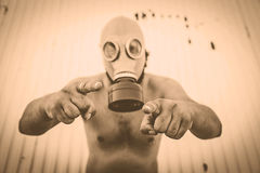Man contaminated gas Stock Photo