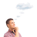 Man contemplating with a cloud over his head Stock Photography