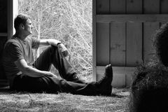 Man Contemplating Rural Life Royalty Free Stock Images