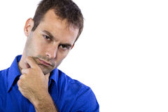 Man Contemplating Thoughts Stock Photography