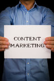 Man with Content Marketing sign Royalty Free Stock Photos