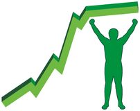 Man contours and green chart line Stock Photography