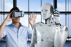 Man control robot. Asian man wearing vr headset and control 3d rendering robot Stock Photo