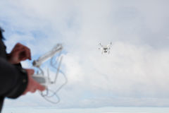 The man controls drone stock image