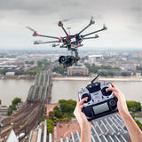 Man controls the flying drones royalty free stock image