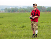 Man controls RC glider Royalty Free Stock Images
