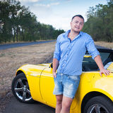 Man and convertible car Stock Photo