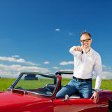 Man in convertible Royalty Free Stock Photography