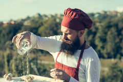 Man cook chef with glass Stock Image