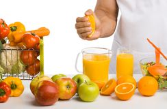 Man cook, cooking freshly squeezed juice Stock Photo