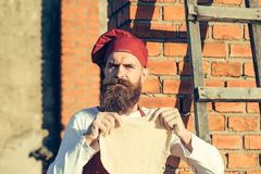 Man cook holding dough Royalty Free Stock Photo