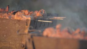Man cook meat on skewers. Man hand turns grilled meat on mangal. Cooking picnic food. Controlling food preparation on grill. Grill. Ing kebab on coals. Extreme