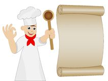 Man cook with spoon in hand and old paper Stock Photography