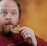 Man with Cookie. Overweight middle aged man with cookies Royalty Free Stock Photo