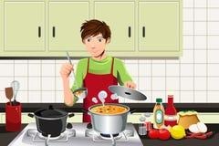 Man cooking royalty free illustration