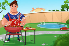 Man Cooking BBQ. A vector illustration of man cooking a BBQ in the backyard Royalty Free Stock Photos